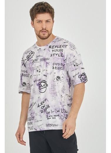 XHAN Yeşil Baskılı Salaş T-Shirt 1Kxe1-44631-08 Mor